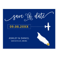 Navy Aruba Wedding Save the Date Map Postcard