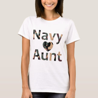 Navy Aunt Heart Camo T-Shirt