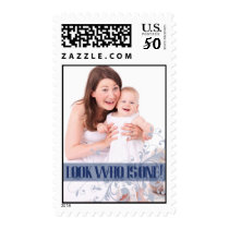 Navy  Baby's First Birthday Party Postage Stamp