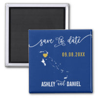 Navy Bahamas Wedding Save the Date Map Magnet