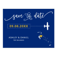 Navy Bahamas Wedding Save the Date Map Postcard