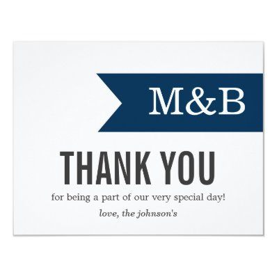 Navy Banner Monogram Wedding Thank You Cards