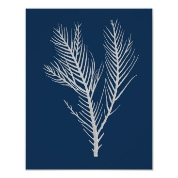 Beach Themed Navy Beach Decor Sea Coral #10 Art Poster