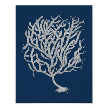 Beach Themed Navy Beach Decor Sea Fan #11 Framed Art Poster