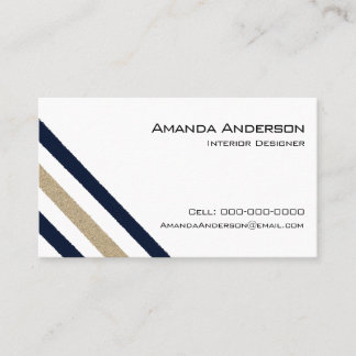 Navy / Beige Paper Stripes Business Card