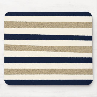 Navy / Beige / White Paper Stripes Mouse Pad