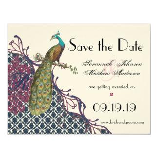 Navy & Berry Berry Elegant Damask Peacock Wedding 4.25x5.5 Paper Invitation Card