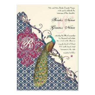 Navy & Berry Berry Elegant Damask Peacock Wedding 5x7 Paper Invitation Card
