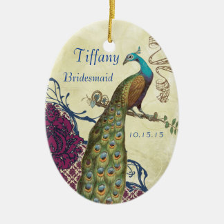 Navy & Berry Berry Elegant Damask Peacock Wedding Double-Sided Oval Ceramic Christmas Ornament
