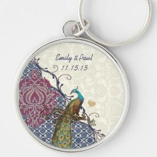 Navy & Berry Berry Elegant Damask Peacock Wedding Keychain