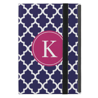 Navy Berry Pink Moroccan Pattern Monogram Cover For iPad Mini