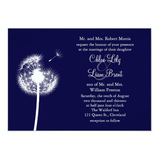 Navy Best Wishes! Wedding Invitation