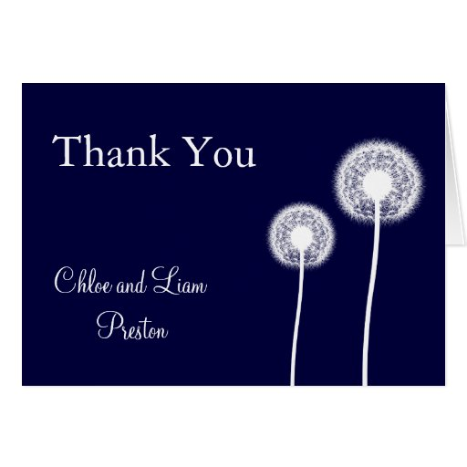 Navy Best Wishes! Wedding Thank You Card 2