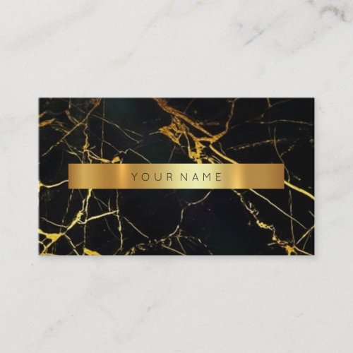 Navy Black Grungy Gold Marble Vip Business Card