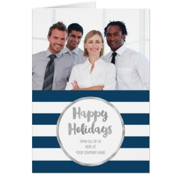 Professional Business Navy Black Stripes Christmas Business Photo Card