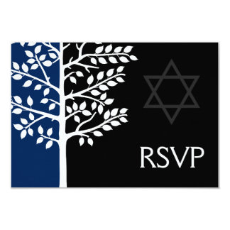 Navy Black Tree of Life Bar Mitzvah RSVP Card