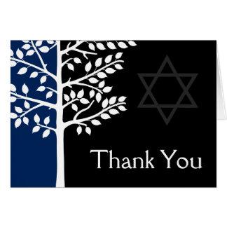 Navy Black Tree of Life Bar Mitzvah Thank You Card