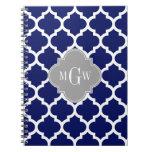 Navy Blu White Moroccan #5 Gray 3 Initial Monogram Note Books