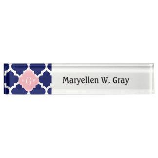 Navy Blu White Moroccan #5 Pink 3 Initial Monogram Name Plate