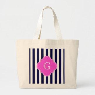 Navy Blu White Stripe Hot Pink Quatrefoil Monogram Large Tote Bag