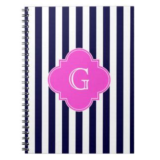Navy Blu White Stripe Hot Pink Quatrefoil Monogram Spiral Notebook