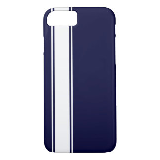 Navy Blu & White Team Jersey Stripe iPhone 7 Case