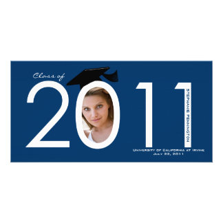 Navy blue 2011 graduation announcement photo card