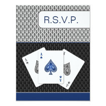 navy blue 3 aces vegas wedding rsvp cards