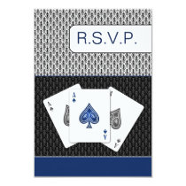 navy blue 3 aces vegas wedding rsvp cards, 3.5 x 5 card