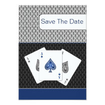 navy blue 3 aces vegas wedding save the date card