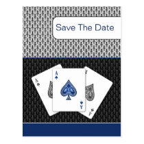 navy blue 3 aces vegas wedding save the date postcard