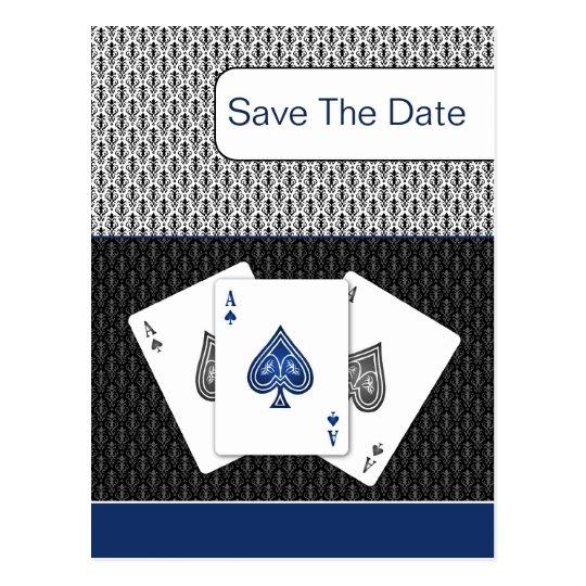 navy blue 3 aces vegas wedding save the date postcard