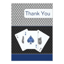navy blue 3 aces vegas wedding Thank You cards