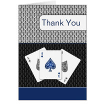 navy blue 3 aces vegas wedding Thank You cards