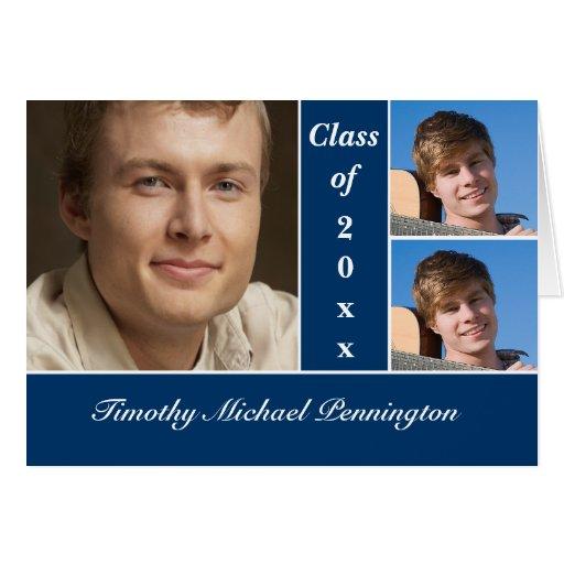 Navy blue 3 photo graduation party announcement card