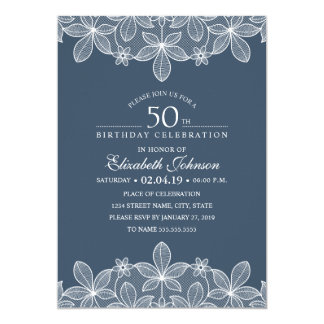 Navy Blue 50th Birthday Party Unique Creative Lace Card