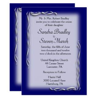 Navy Blue Accent Wedding Invitations