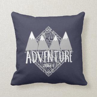 Navy Blue Adventure Junkie Mountains Hiking Throw Pillow