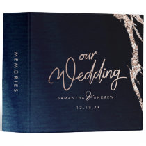Navy Blue Agate & Rose Gold Wedding Photo Album Binder