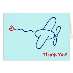 Navy Blue Airplane with Red Heart Thank You Note Card