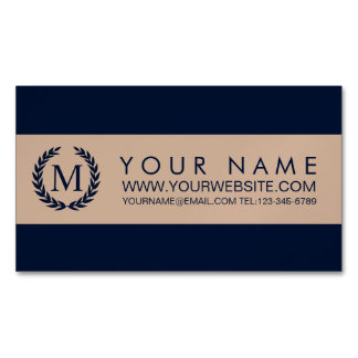 Navy Blue & Almond Stripe Laurel Wreath Monogram Magnetic Business Card