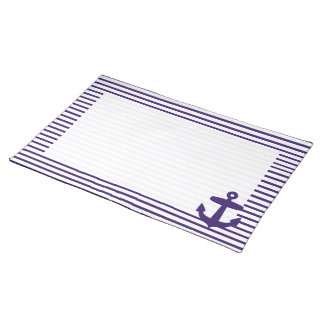 Navy Blue Anchor and Sailor Stripes Cloth Placemat