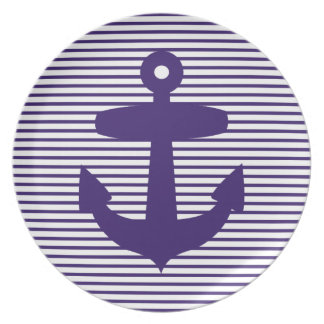 Navy Blue Anchor and Sailor Stripes Dinner Plate