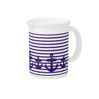 Navy Blue Anchor and Sailor Stripes Drink Pitcher