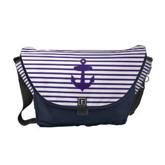 Navy Blue Anchor and Sailor Stripes Messenger Bag