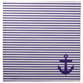 Navy Blue Anchor and Sailor Stripes Napkin