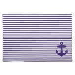 Navy Blue Anchor and Sailor Stripes Placemat