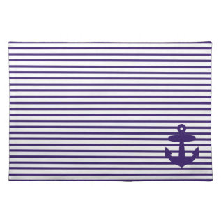 Navy Blue Anchor And Sailor Stripes Placemat at Zazzle