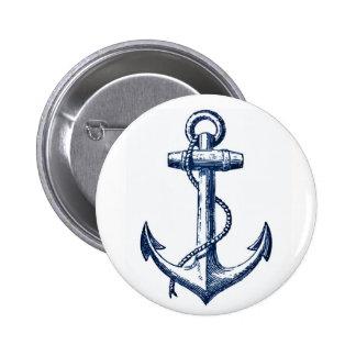 Navy Blue Anchor Pinback Button