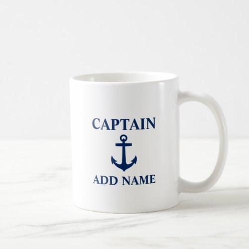 Navy Blue Anchor Captain Add Name or Boat Name Coffee Mug